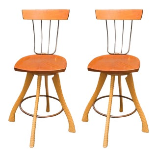 Brad Smith Ax & Pitchfork Counter Chairs For Sale