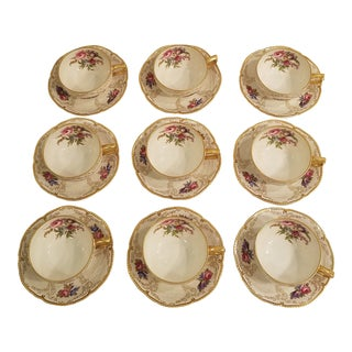 Rosenthal Diplomat Center Gold Continental Cups and Saucers - Set of 9 For Sale