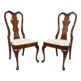 Image of Vintage Queen Anne Style Crotch Mahogany Dining Side Chairs - a Pair For Sale