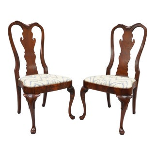 Vintage Queen Anne Style Crotch Mahogany Dining Side Chairs - a Pair
