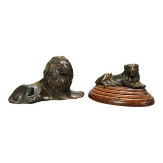 Late 19th Century French Figural Bronze Recumbent Lion Sculptures - Set of 2 For Sale