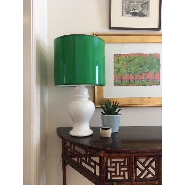 Large Kelly Green Drum Lamp Shade For Sale - Image 4 of 7