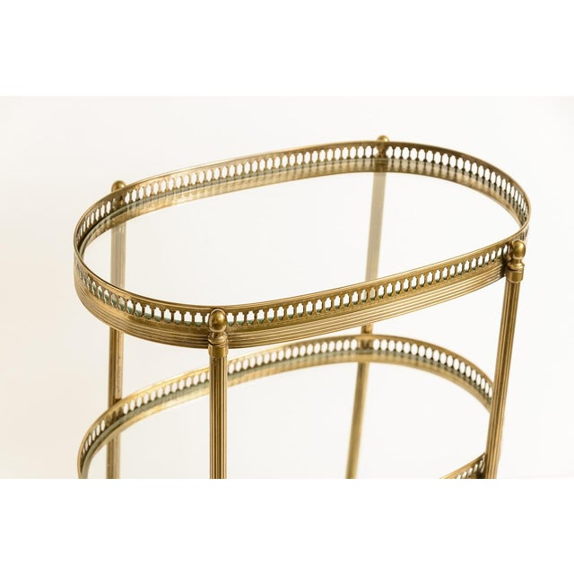 French Petite Brass Three Tier Gallery Table, After Maison Jansen For Sale - Image 4 of 13