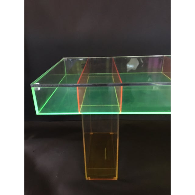 Modern Multi-Color Lucite Coffee Table For Sale - Image 4 of 7