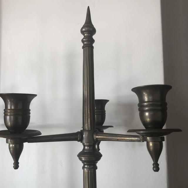 Renaissance Revival Antique Renaissance Revival Candelabras Pewter - a Pair For Sale - Image 3 of 7