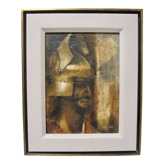 1960s Vintage Mid Century Modern Grecian Warrior Man Portrait Oil Painting Charles Bragg For Sale