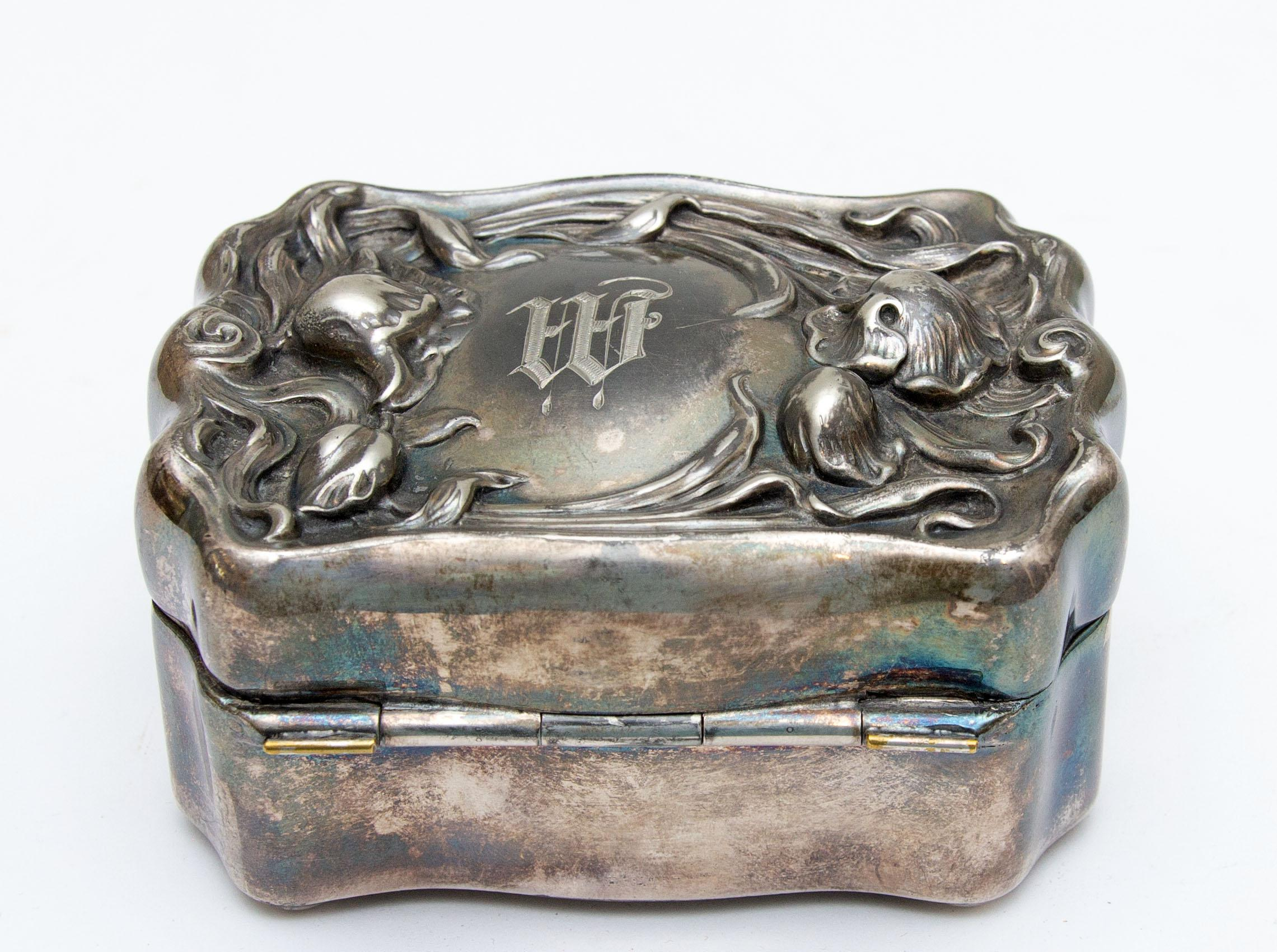 Silver plate Art Nouveau Jewelry Box    Vintage Silver Jewelry Box   Vanity Jewelry Box    Silver Anniversary Gift    25th Anniversary Gift