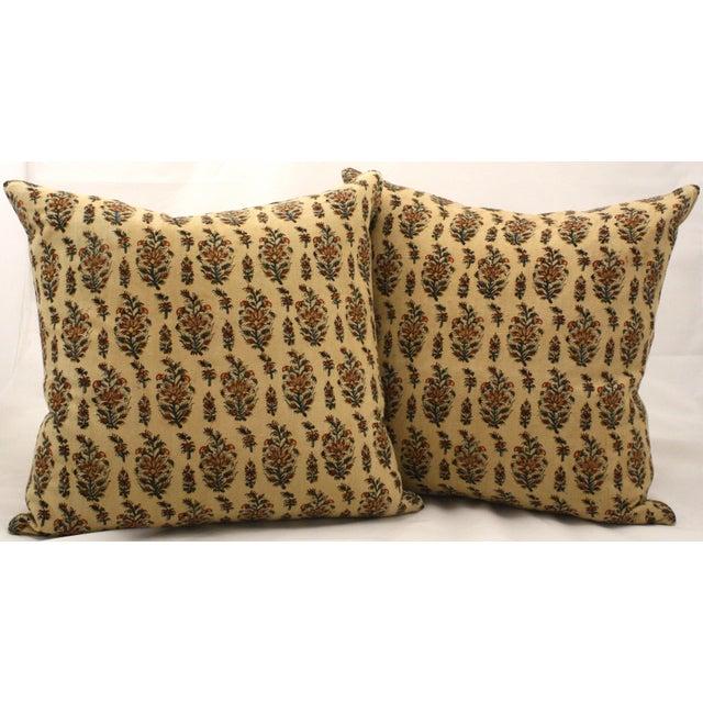 Vintage Paisley Block Print Pillows - A Pair - Image 2 of 3