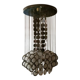 Mid-Century Chrome and Glass Disc Chandelier Style of Vistosi