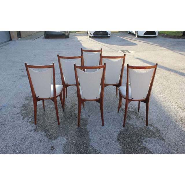 Set of 6 French Art Deco or Art Modern Solid Mahogany Dining Chairs Circa 1950s For Sale - Image 4 of 13