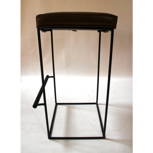 Mid-Century Modern Upholstered Iron Bar Stools - A Pair - Image 6 of 10