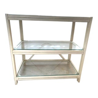 Vintage Mid-Century Bentwood Bamboo and Glass Tiered Side Table For Sale