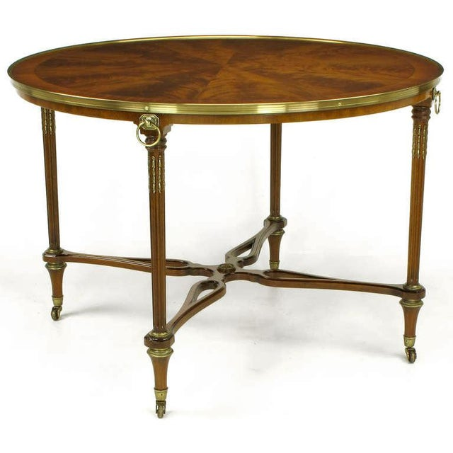 Hollywood Regency John Widdicomb Regency Center Table with Crotch Mahogany Parquetry Top For Sale - Image 3 of 11