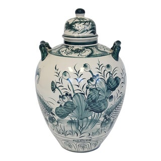Large Hand Painted Porcelain Urn For Sale