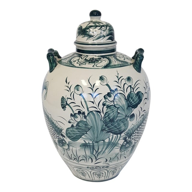 Large Hand Painted Porcelain Urn For Sale