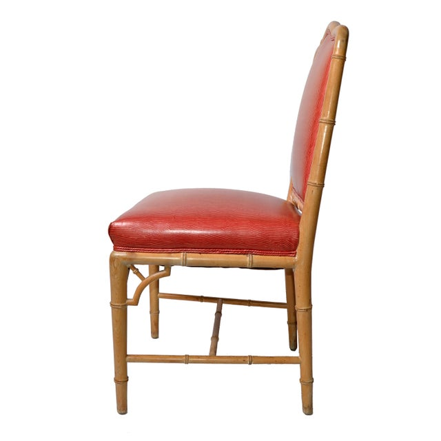 Faux Bamboo Chinese Chippendale Vinyl Chairs - Set of 8 - Image 5 of 10