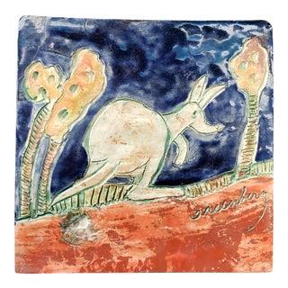 Vintage JoAnn Greenberg Pottery Kangaroo Motif Tile (New Orleans) (20th Century) (Newcomb College Artist) For Sale