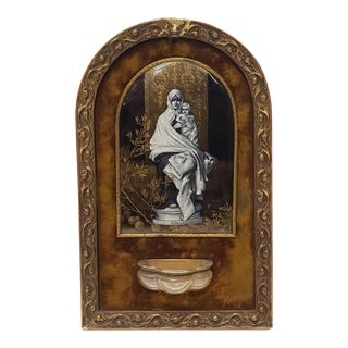 """Circa 1880 French After Nicolo Barabino """"Madonna Del'Ulivo"""" Hand Painted Gilded Enamel Plaque For Sale"""