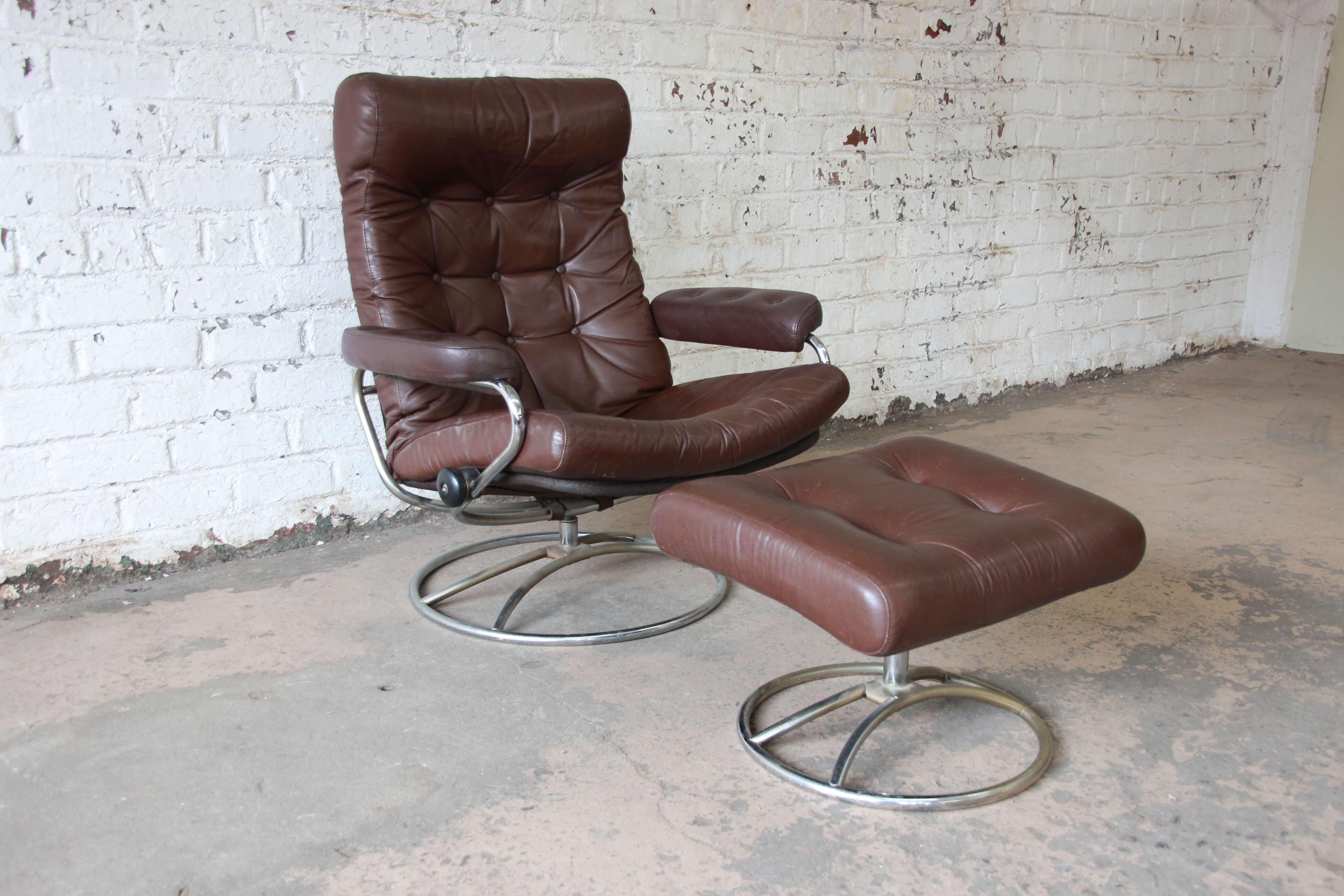 Vintage Brown Leather Ekornes Stressless Lounge Chair U0026 Ottoman   Image 2  Of 11