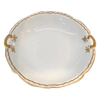 Antique Limoges Gold and White Scalloped Serving Bowl For Sale