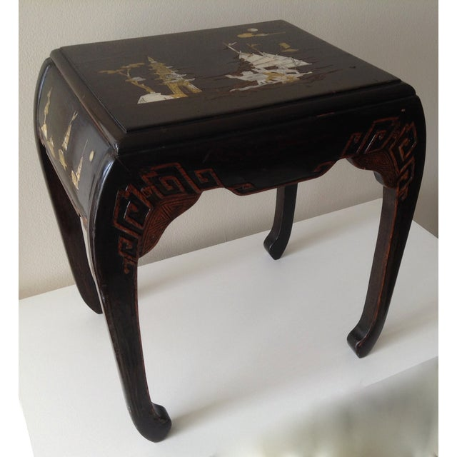 Asian Mother of Pearl & Abalone Inlay Side Table - Image 4 of 11