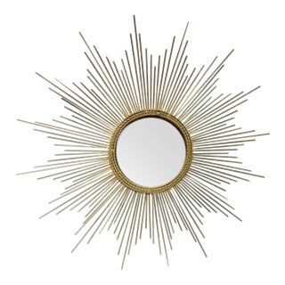 Art Deco Style Gold Starburst Mirror For Sale
