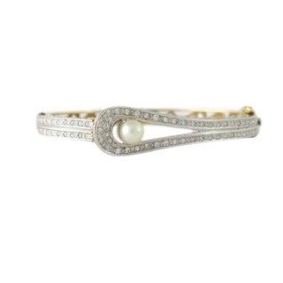 Vintage 14k Gold Diamond & Cultured Pearl Bangle Bracelet For Sale