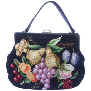 Needlepoint Fruit Theme Retro Handbag Circa 1960s For Sale