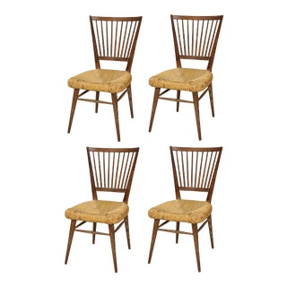 Set of 4 Italian Cerused Oak Chairs With Rushed Seats For Sale