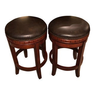 Front Gate Brown Leather Bar Stools - a Pair For Sale