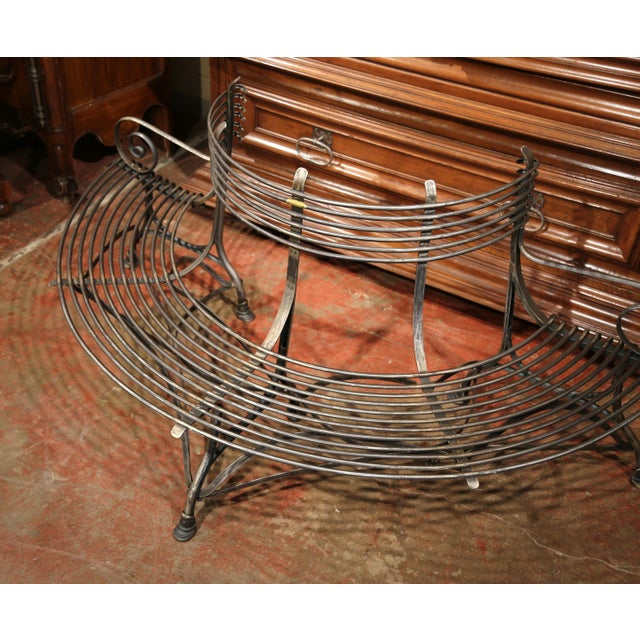 Art Nouveau French Polished Iron Curved Around the Tree Shaped Garden Bench Signed Sauveur For Sale - Image 3 of 10