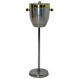 Early 20th Century Art Deco Standing Champagne Ice Cooler Aluminum & Brass For Sale