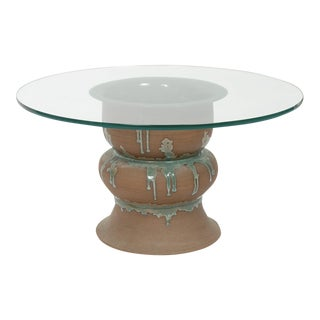 Studio Ceramic Side Table with Circular Glass Top