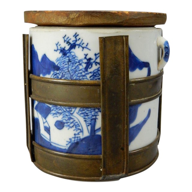 Antique Chinese Blue & White Tea/Tobacco Jar For Sale