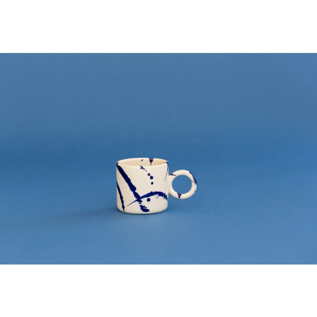 Mid-Century Modern Indigo Splattered Ceramic Circle Mug - Set of 4 For Sale - Image 3 of 5