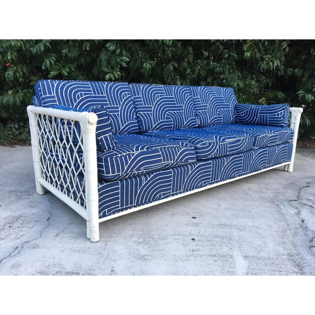 Blue Bamboo Rattan Mid Century Tuxedo Sofa in the Manner of Ficks Reed For Sale - Image 8 of 8