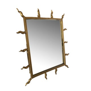1970s Starburst Goldtone Tabletop Vanity Mirror For Sale
