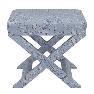 Scalamandre X Bench in Blue Aviary For Sale