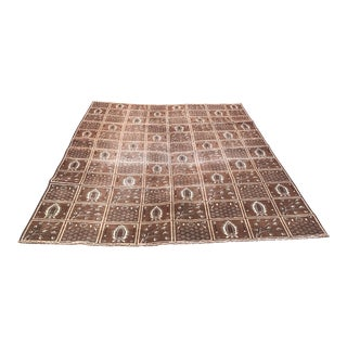 1960s Vintage Persian Pictorial Rug - 7′ × 10′4″ For Sale