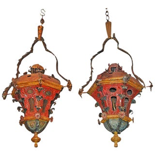19th Century Tole Lanterns - a Pair