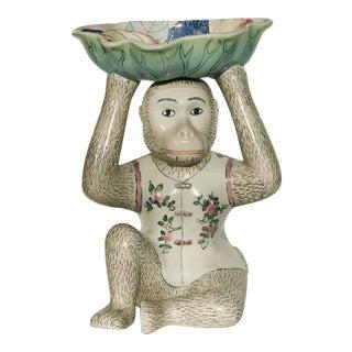Vintage Chinoiserie Tobacco Leaf Design Porcelain Monkey Dish For Sale