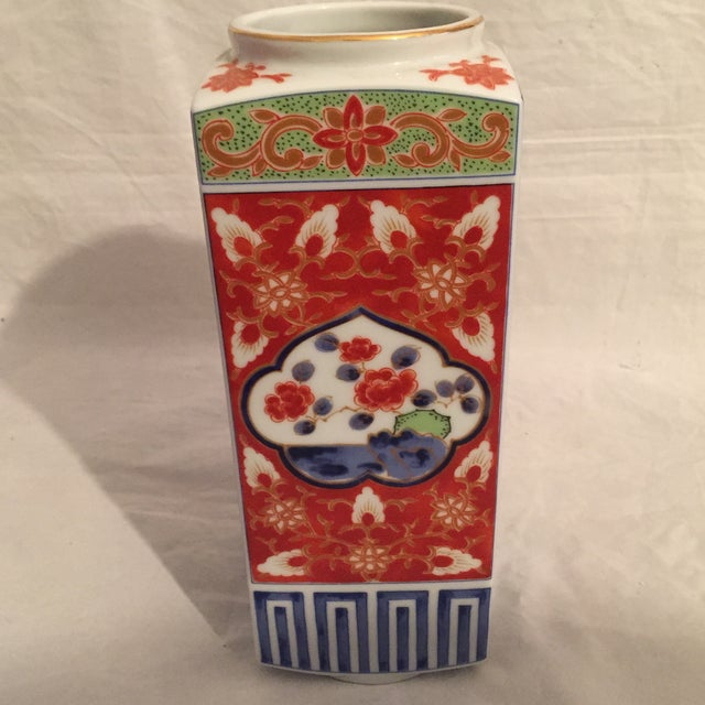 Traditional Japanese Porcelain Column Vase For Sale - Image 4 of 8