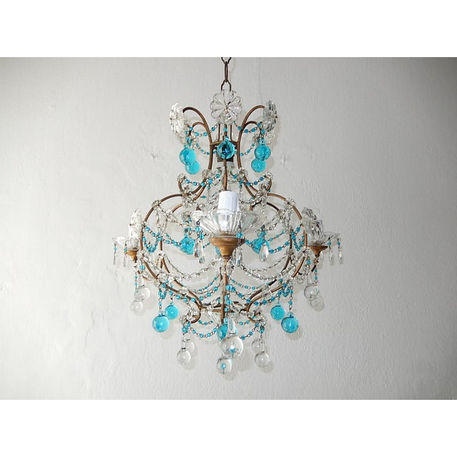 1920s French Blue & Clear Murano Drops Crystal Giltwood Chandelier For Sale - Image 13 of 13