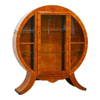 1930's English Art Deco Circular Light Walnut Illuminated Display Cabinet For Sale