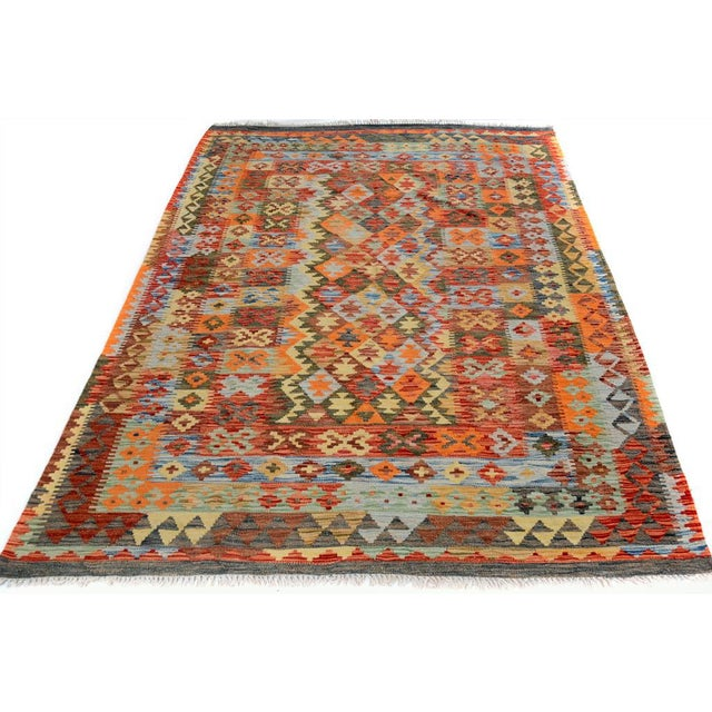 Early 21st Century Arya Rickie Blue/Orange Wool Kilim Rug - 4'10 X 6'9 A9368 For Sale - Image 5 of 7
