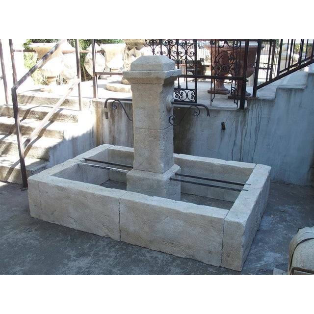 Rectangular 2 Spout Limestone Center Fountain From Provence For Sale - Image 4 of 10