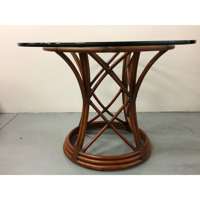 Boho Chic Ficks Reed Rattan Bent Bamboo Leather Bound Dining Set - 5 Pieces For Sale - Image 3 of 9