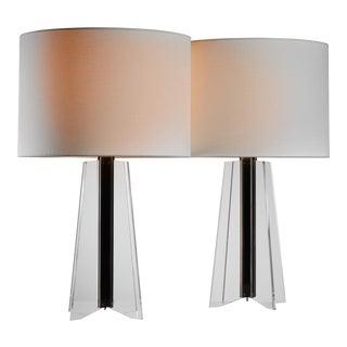 Large Pair of Kaiser Plexiglass Cruciform Console Lamps, 1960s For Sale