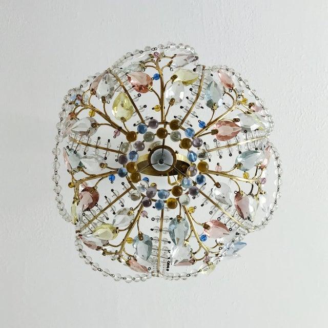 Baguès Antique Maison Bagues Style Multi Color Austrian Crystal Ceiling Pendant Chandelier on Brass Frame For Sale - Image 4 of 9
