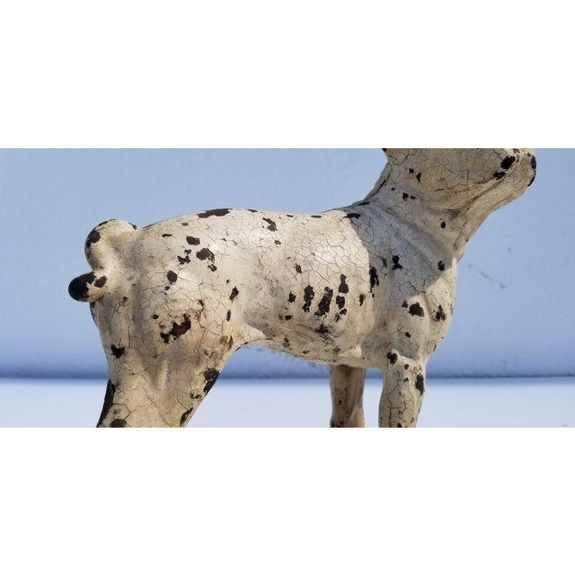 Off-white 1930s Vintage White Cast Iron Boston Terrier Dog Sculpture / Doorstop For Sale - Image 8 of 11